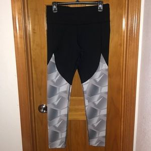 UA black Leggings with White and Gray